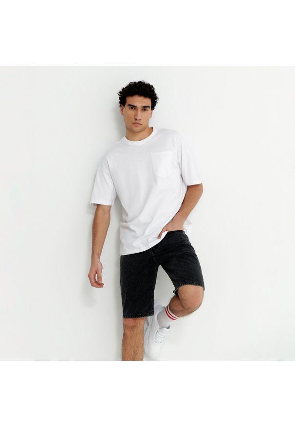 House - Szorty jeansowe z efektem sprania - Szary. Kolor: szary. Materiał: jeans