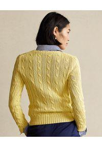 Żółty sweter Ralph Lauren klasyczny, długi, ze splotem, polo