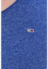 Tommy Jeans - T-shirt. Okazja: na co dzień. Kolor: niebieski. Materiał: dzianina. Wzór: gładki. Styl: casual