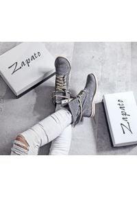 Zapato - dziurkowane botki za kostkę - skóra naturalna - model 428 - kolor grafitowy. Okazja: na spacer. Wysokość cholewki: za kostkę. Kolor: szary. Materiał: skóra. Wzór: ażurowy. Styl: sportowy