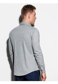 Szara koszula Ombre Clothing z długim rękawem, długa