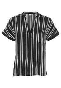 Bluzka w paski bonprix czarno-biały w paski. Kolor: czarny. Wzór: paski