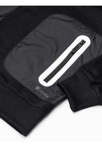 Ombre Clothing - Bluza męska z kapturem B1082 - czarna - XXL. Typ kołnierza: kaptur. Kolor: czarny. Materiał: bawełna, poliester. Wzór: aplikacja