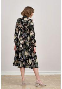Marie Zélie - Sukienka Colette Phoenix czarna 32 czarny. Kolor: czarny. Materiał: wiskoza, skóra, materiał. Długość rękawa: długi rękaw. Wzór: gładki. Typ sukienki: szmizjerki. Styl: elegancki. Długość: midi