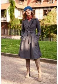 Marie Zélie - Płaszcz wełniany Achillea szary. Kolor: szary. Materiał: wełna. Wzór: ze splotem