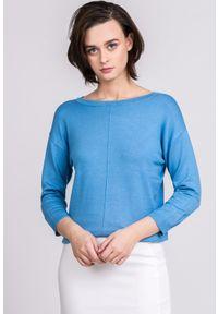 Niebieski sweter Monnari z krótkim rękawem, w kolorowe wzory, wizytowy