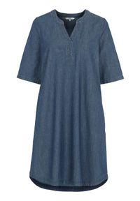 Cellbes Sukienka dżinsowa z rękawem 3/4 ciemnoniebieski denim female niebieski 50/52. Typ kołnierza: dekolt w serek. Kolor: niebieski. Materiał: denim