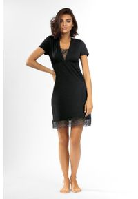 Lorin - Koszula nocna. Kolor: czarny. Materiał: tkanina, koronka. Długość: krótkie