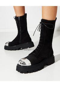 Casadei - CASADEI - Sznurowane botki Generation X. Nosek buta: okrągły. Kolor: czarny. Materiał: guma. Szerokość cholewki: normalna
