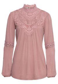 Różowa bluzka bonprix w koronkowe wzory, z długim rękawem, boho, ze stójką