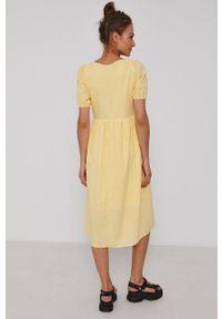 Y.A.S - Sukienka bawełniana. Kolor: żółty. Materiał: bawełna. Długość rękawa: krótki rękaw