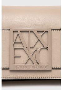 Armani Exchange - Torebka. Kolor: beżowy. Rodzaj torebki: na ramię