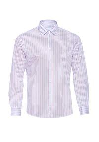 Fioletowa koszula VEVA z klasycznym kołnierzykiem, długa, na spotkanie biznesowe, casualowa