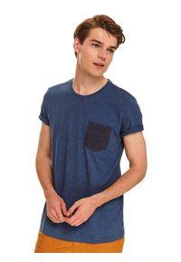 Niebieski t-shirt TOP SECRET z krótkim rękawem, w kolorowe wzory, na co dzień, klasyczny