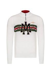 Biały sweter Aeronautica Militare z aplikacjami, krótki, ze stójką