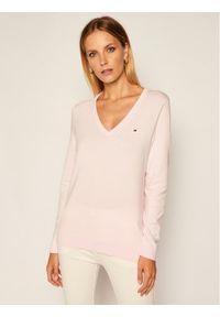 Różowy sweter klasyczny TOMMY HILFIGER