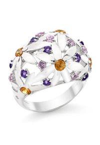 Braccatta - SUMMER Srebrny pierścionek z ametystami szafirami. Materiał: srebrne. Kolor: srebrny. Wzór: kwiaty. Kamień szlachetny: szafir, ametyst
