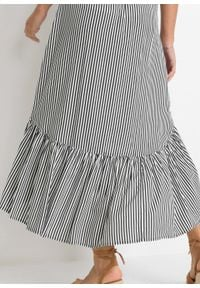 Spódnica z dłuższym tyłem bonprix ciemnoniebiesko-biel wełny w paski. Kolor: niebieski. Materiał: wełna. Długość: długie. Wzór: paski #6