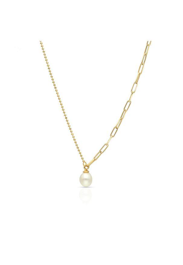 W.KRUK Wyjątkowy Naszyjnik - srebro 925, Perła - SAR/NP008Z. Materiał: srebrne. Wzór: ze splotem. Kamień szlachetny: perła