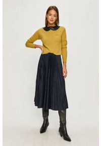 Żółty sweter Pinko casualowy, na co dzień, długi, z długim rękawem