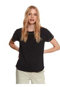 Czarny t-shirt TOP SECRET krótki, z krótkim rękawem, z aplikacjami