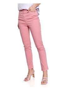 TOP SECRET - Spodnie jeansowe skinny. Okazja: do pracy. Kolor: różowy. Materiał: jeans. Długość: długie. Sezon: lato. Styl: elegancki