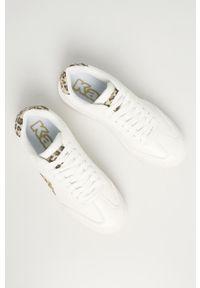 Białe buty sportowe Kappa z okrągłym noskiem, z cholewką, na obcasie, na sznurówki