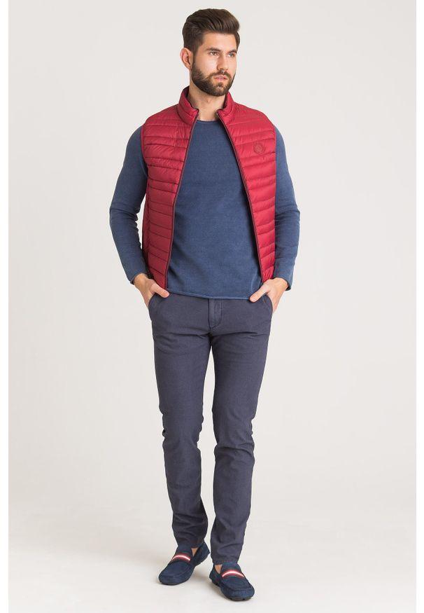 Niebieski sweter JOOP! Jeans z okrągłym kołnierzem, w kolorowe wzory