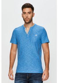 Niebieski t-shirt Tom Tailor Denim casualowy, polo, z aplikacjami, krótki