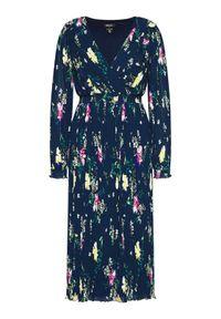 DKNY Sukienka dzianinowa DD1A7144 Granatowy Regular Fit. Kolor: niebieski. Materiał: dzianina. Styl: wizytowy