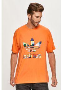 Wielokolorowy t-shirt adidas Originals z nadrukiem, z okrągłym kołnierzem