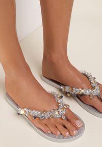 Renee - Srebrne Japonki Olexera. Kolor: srebrny. Materiał: guma. Wzór: paski, aplikacja. Styl: wakacyjny #1