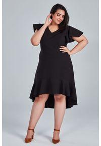 Czarna sukienka dla puszystych Moda Size Plus Iwanek na ślub cywilny, plus size