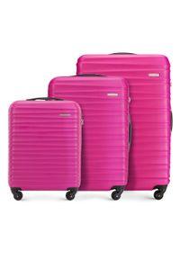 Wittchen - Zestaw walizek z ABS-u z żebrowaniem. Kolor: różowy. Materiał: guma