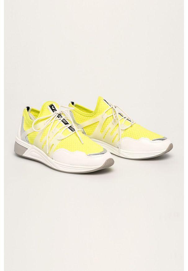 Żółte buty sportowe Marco Tozzi z cholewką, na sznurówki