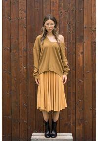 Żółta spódnica VEVA na jesień, melanż, krótka, do pracy #4