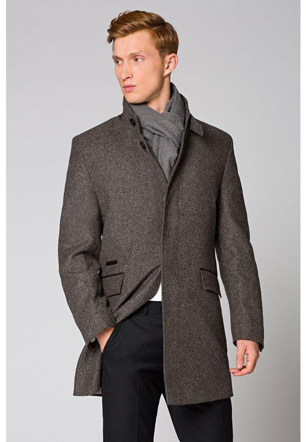 Szary płaszcz Lancerto na zimę, klasyczny, ze stójką