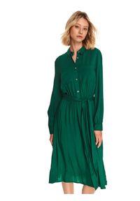 TOP SECRET - Gładka szmizjerka z wiskozy. Kolor: zielony. Materiał: wiskoza. Wzór: gładki. Typ sukienki: szmizjerki