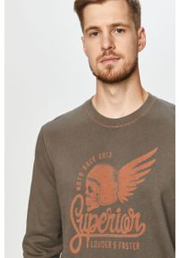 Szara bluza nierozpinana PRODUKT by Jack & Jones na co dzień, z nadrukiem, bez kaptura, casualowa #5