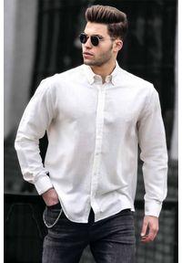 Biała koszula IVET na co dzień, z długim rękawem, casualowa, długa
