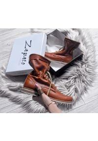 Zapato - sznurowane botki na płaskiej podeszwie - skóra naturalna - model 424 - kolor brązowy. Okazja: na spacer. Wysokość cholewki: za kostkę. Kolor: brązowy. Materiał: skóra. Obcas: na płaskiej podeszwie. Styl: sportowy