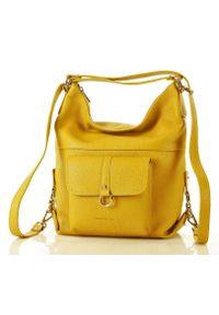 Torebka plecak 2w1 żółta MARCO MAZZINI s116d. Kolor: żółty. Wzór: paski. Sezon: lato. Materiał: skórzane