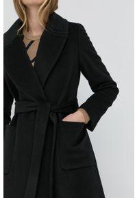 Lauren Ralph Lauren - Płaszcz. Okazja: na co dzień. Kolor: czarny. Materiał: materiał. Wzór: gładki. Styl: klasyczny, casual