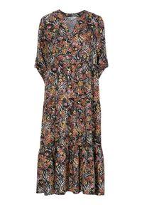 Cellbes Wzorzysta sukienka z falbanami Czarny w kwiaty female czarny/ze wzorem 62/64. Typ kołnierza: dekolt w serek. Kolor: czarny. Wzór: kwiaty