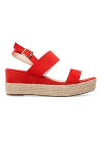 Czerwone sandały SIXTH SENS eleganckie, w kolorowe wzory, na lato