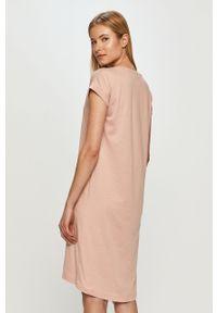 Różowa sukienka Vila casualowa, z krótkim rękawem, gładkie