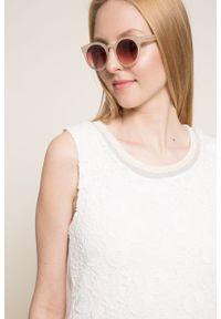 Biała sukienka Desigual mini, prosta, gładkie