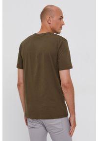 Hugo - T-shirt bawełniany. Okazja: na co dzień. Kolor: zielony. Materiał: bawełna. Wzór: nadruk. Styl: casual