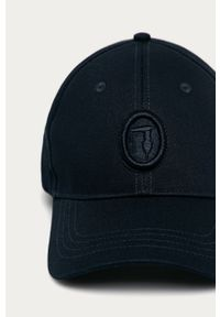 Niebieska czapka z daszkiem Trussardi Jeans z aplikacjami
