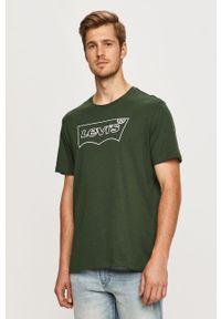 Zielony t-shirt Levi's® biznesowy, na spotkanie biznesowe, z okrągłym kołnierzem